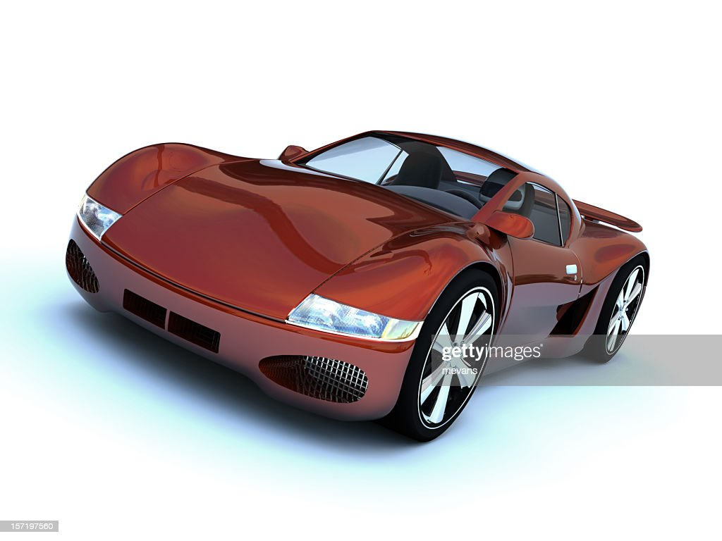 Superior Maroon Colored Sports Car Isolated On A White Background : Stock Photo