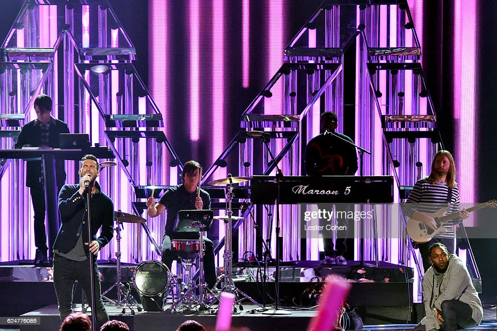 Maroon Five performs onstage at the 2016 American Music Awards at Microsoft Theater on November 20, 2016 in Los Angeles, California.