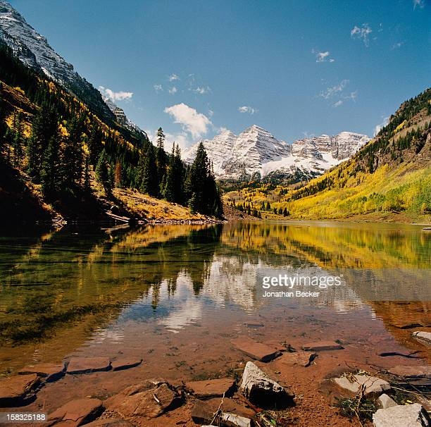 Maroon Lake is photographed for Vanity Fair Magazine on December 26 2002 in Maroon Creek Valley Aspen Colorado PUBLISHED IN JONATHAN BECKER 30 YEARS...