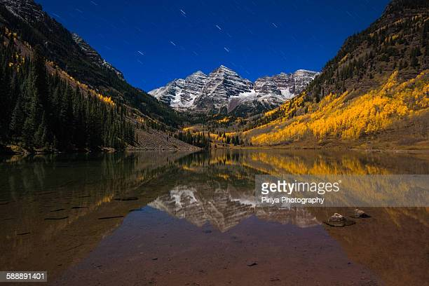 maroon lake - maroon bells stock photos and pictures