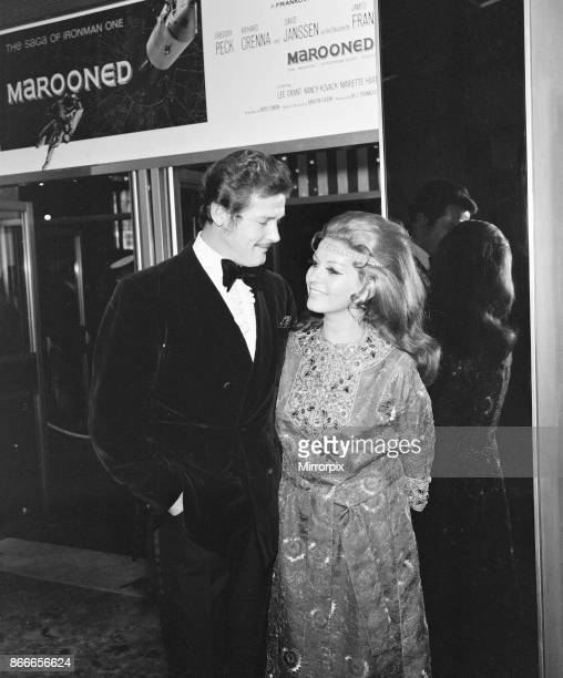 Marooned 1970 Film Premiere The Odeon Leicester Square London Thursday 29th January 1970 picture shows Roger Moore British actor with wife Luisa...