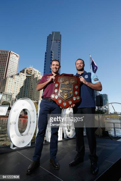 Maroons Captain Cameron Smith and Blues Captain Boyd Cordner pose for a photo during the 2018 State of Origin launch at Arbory Afloat on April 3 2018...