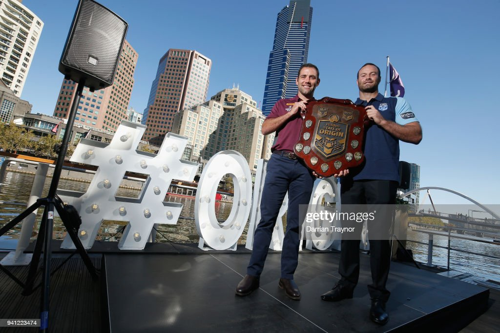 Maroons Captain Cameron Smith and Blues Captain Boyd Cordner pose for a photo during the 2018 State of Origin launch at Arbory Afloat on April 3, 2018 in Melbourne, Australia.