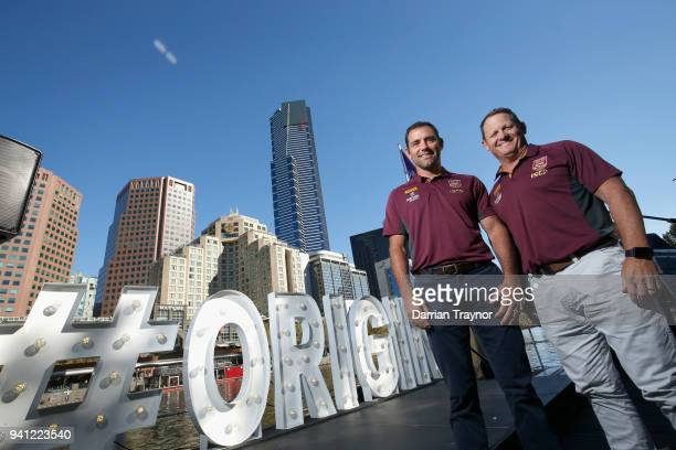 Maroons Captain Cameron Smith and Maroons Coach Kevin Walters pose for a photo during the 2018 State of Origin launch at Arbory Afloat on April 3...
