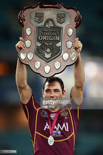 Maroons captain Cameron Smith holds aloft the State of Origin trophy after victory during game three of the ARL State of Origin series between the...