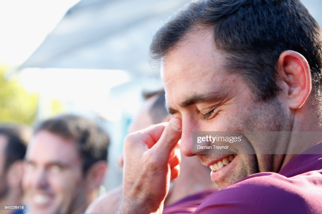 Maroons Captain Cameron Smith laughs during the 2018 State of Origin launch at Arbory Afloat on April 3, 2018 in Melbourne, Australia.