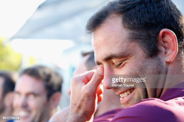 Maroons Captain Cameron Smith laughs during the 2018 State of Origin launch at Arbory Afloat on April 3 2018 in Melbourne Australia