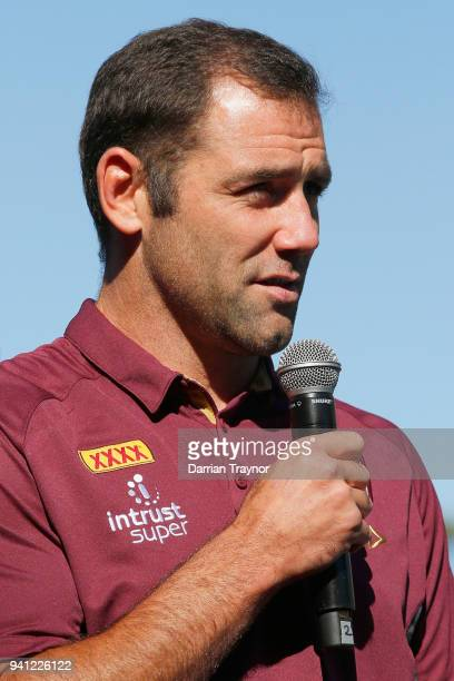 Maroons Captain Cameron Smith speaks during the 2018 State of Origin launch at Arbory Afloat on April 3 2018 in Melbourne Australia