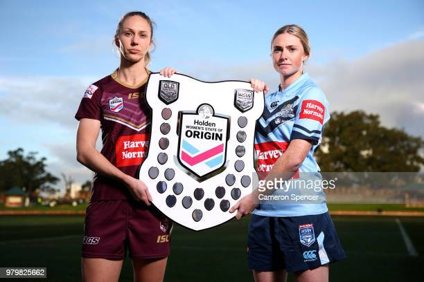 Maroons captain Colleen Edwards poses with Blues captain Maddison Studdon during the Women's State of Origin Media Opportunity at North Sydney Oval...