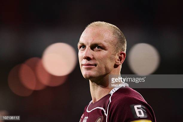 Maroons captain Darren Lockyer walks the lap of honour after victory during game two of the ARL State of Origin Series between the New South Wales...