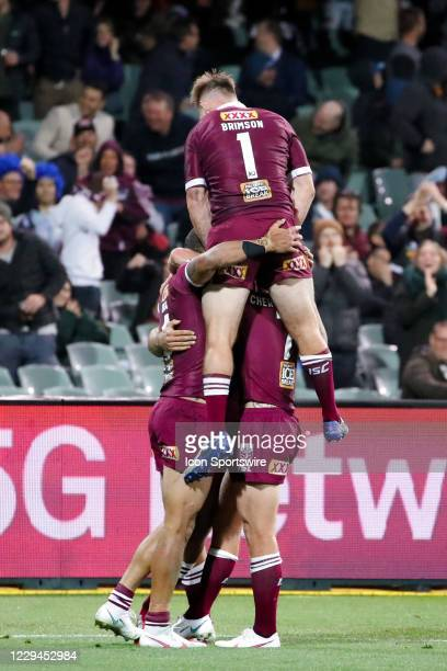 Maroons celebrate the try of Xavier Coates during game one of the 2020 State of Origin series between the Queensland Maroons and New South Wales...