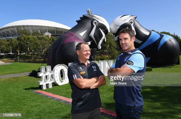 Maroons Coach Kevin Walters and Brydens Lawyers NSW Blues coach Brad Fittler with the State on Origin Sheild at Elder Park during the 2020 NRL State...