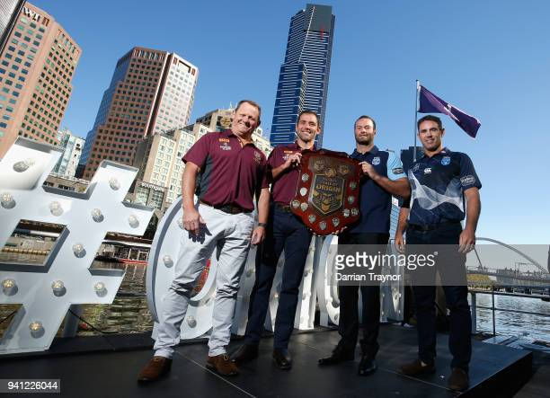 Maroons Coach Kevin Walters Maroons Captain Cameron Blues Captain Boyd Cordner and Blues Coach Brad Fittler pose for a photo during the 2018 State of...