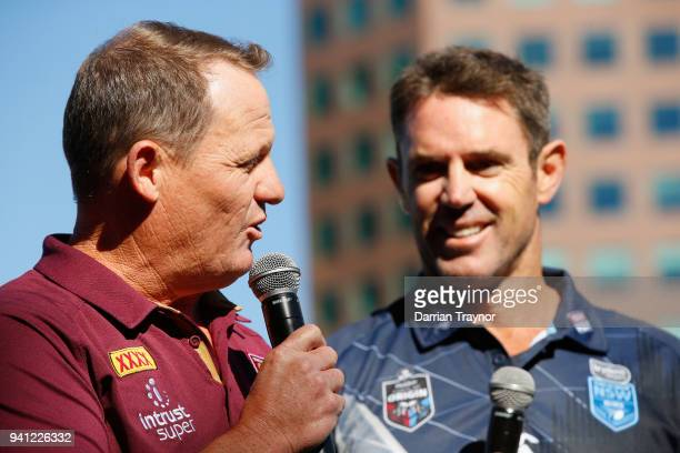 Maroons Coach Kevin Walters speaks as Blues Coach Brad Fittler looks on during the 2018 State of Origin launch at Arbory Afloat on April 3 2018 in...