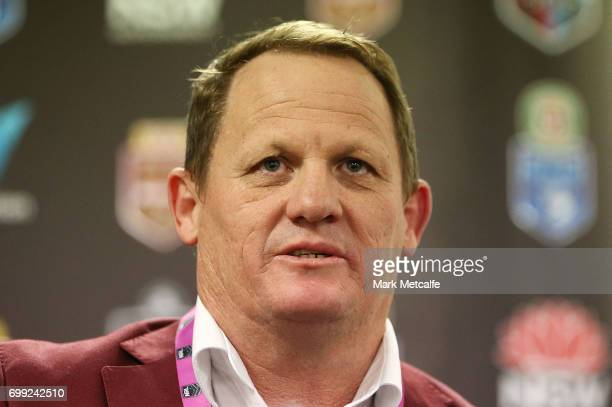 Maroons coach Kevin Walters speaks at a press conference after game two of the State Of Origin series between the New South Wales Blues and the...
