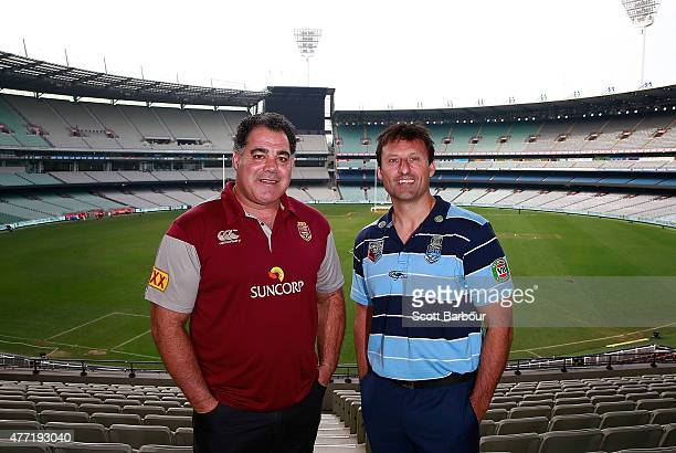 Maroons coach Mal Meninga and Blues coach Laurie Daley pose before game two of the State of Origin series between the New South Wales Blues and the...