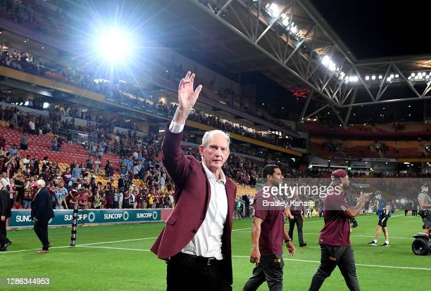 Maroons coach Wayne Bennett celebrates victory after game three of the State of Origin series between the Queensland Maroons and the New South Wales...