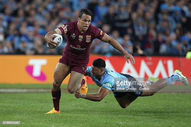 Maroon's Will Chambers gets away from Blues Daniel Tupou in this tackle during the match at Sydney Olympic Park Sydney Australia Wednesday 27th May...