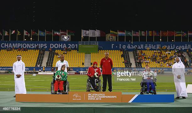 Maroua Ibrahami of Tunisia poses with her gold, Mounia Gasmi of Algeria silver and Abbie Hunnisett of Great Britain bronze during the Evening Session...
