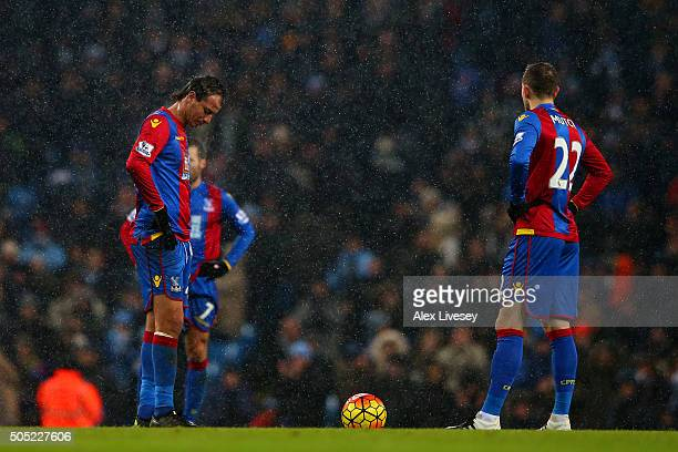 Marouane Chamakh and Jordon Mutch of Crystal Palace show their dejection after conceding a fourth goal during the Barclays Premier League match...