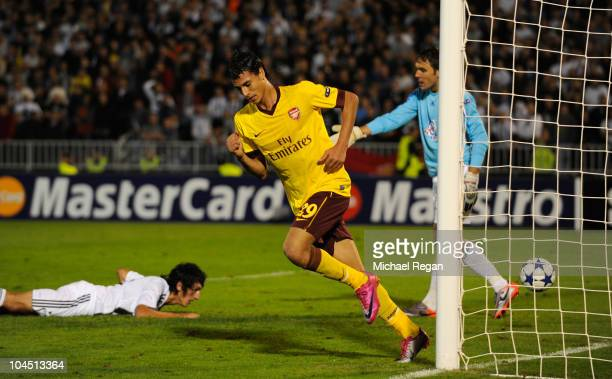 Marouane Chamakh of Arsenal celebrates scoring to make it 21 during the UEFA Champions League Group H match between FK Partizan and Arsenal at the...