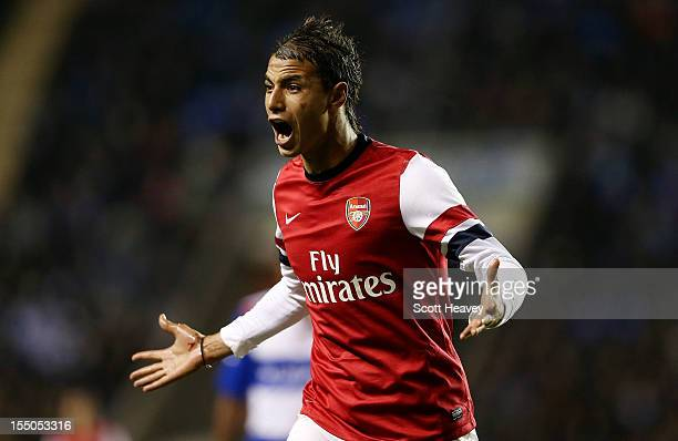 Marouane Chamakh of Arsenal during the Capital One Cup Fourth Round match between Reading and Arsenal at Madejski Stadium on October 30 2012 in...