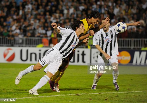 Marouane Chamakh of Arsenal scores to make it 21 during the UEFA Champions League Group H match between FK Partizan and Arsenal at the Partizan...
