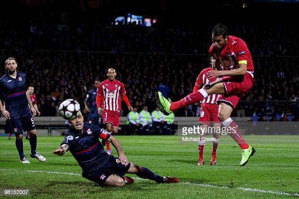 Marouane Chamakh of Bordeaux scores his sides first goal during the Lyon v Bordeaux UEFA Champions League quarterfinal 1st leg match at the Stade...