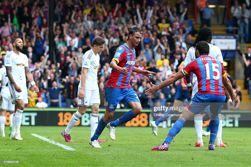 Marouane Chamakh of Crystal Palace celebrates scoring his team's first goal during the Barclays Premier League match between Crystal Palace and Swansea City at Selhurst Park on May 24, 2015 in London, England.