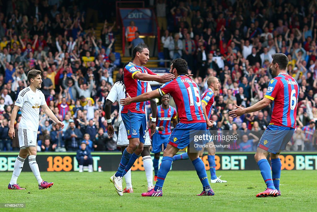 Marouane Chamakh of Crystal Palace celebrates scoring his team's first goal with his team mate Mile Jedinak during the Barclays Premier League match between Crystal Palace and Swansea City at Selhurst Park on May 24, 2015 in London, England.