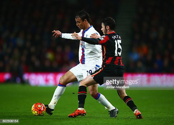Marouane Chamakh of Crystal Palace takes on Adam Smith of Bournemouth during the Barclays Premier League match between AFC Bournemouth and Crystal...
