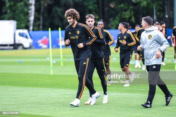 Marouane Fellaini and Adnan Januzaj of Belgium during the Training Session of Belgium on July 9 2018 in Moscow Russia