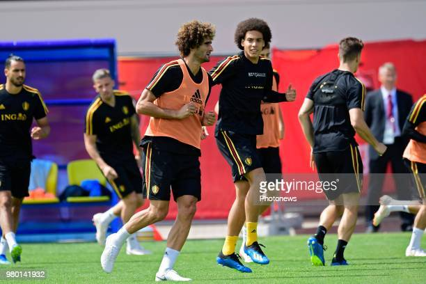 Marouane Fellaini midfielder of Belgium and Axel Witsel midfielder of Belgium pictured during a training session as part of the preparation prior to...