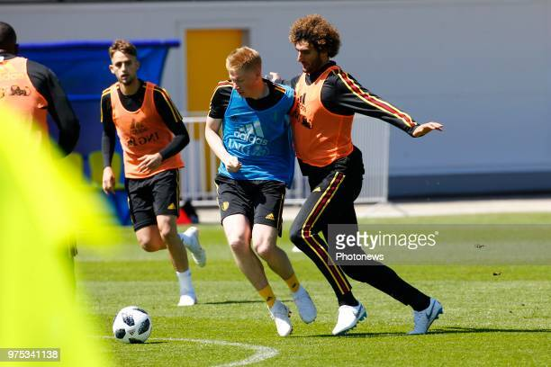 Marouane Fellaini midfielder of Belgium and Kevin De Bruyne forward of Belgium during a training session of the National Soccer Team of Belgium as...