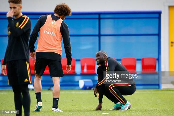 Marouane Fellaini midfielder of Belgium and Romelu Lukaku forward of Belgium during a training session of the National Soccer Team of Belgium as part...