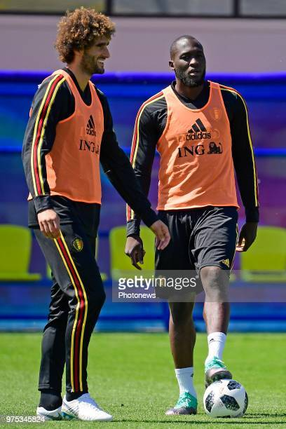 Marouane Fellaini midfielder of Belgium and Romelu Lukaku forward of Belgium pictured during a training session of the National Soccer Team of...