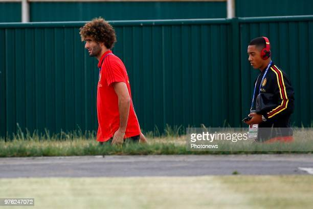 Marouane Fellaini midfielder of Belgium and Youri Tielemans midfielder of Belgium pictured during a training session of the National Soccer Team of...