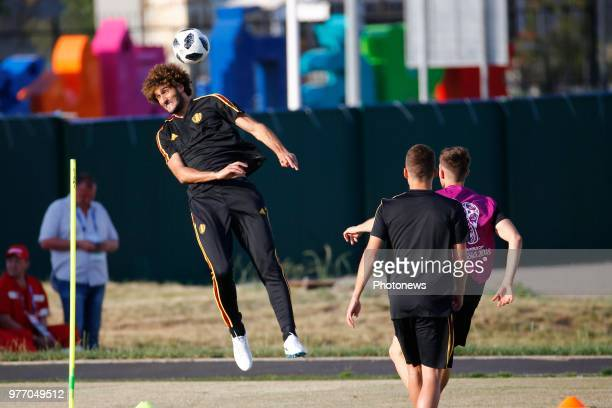 Marouane Fellaini midfielder of Belgium during the training session prior to the FIFA 2018 World Cup Russia group G phase match between Belgium and...