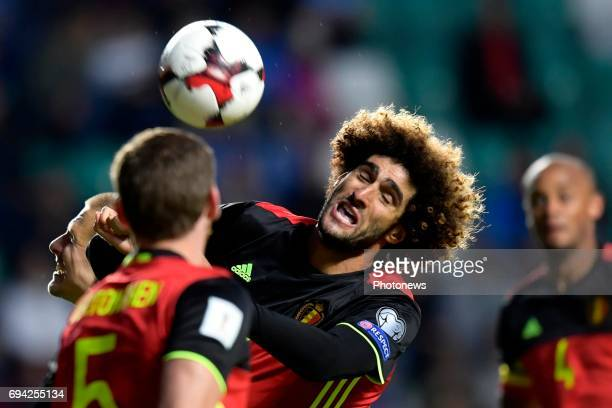 Marouane Fellaini midfielder of Belgium in action during the World Cup Qualifier Group H match between Estonia and Belgium at the Le Cocq Arena on...
