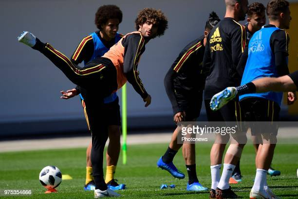 Marouane Fellaini midfielder of Belgium pictured during a training session of the National Soccer Team of Belgium as part of the preparation prior to...