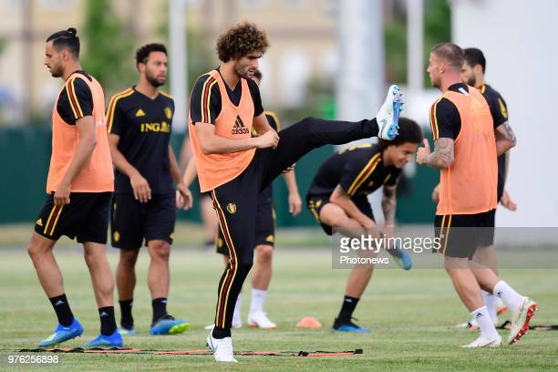 Marouane Fellaini midfielder of Belgium pictured during an physical exercise during a training session of the National Soccer Team of Belgium prior...