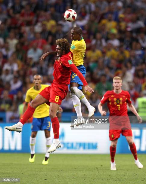 Marouane Fellaini of Belgium and Fernandinho of Brazil battle for the header during the 2018 FIFA World Cup Russia Quarter Final match between Brazil...