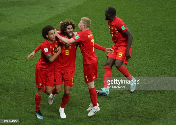 Marouane Fellaini of Belgium celebrates after he scores his sides second goal during the 2018 FIFA World Cup Russia Round of 16 match between Belgium...