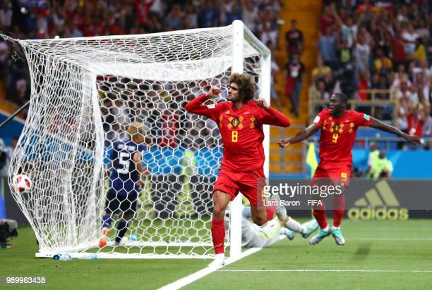 Marouane Fellaini of Belgium celebrates after scoring his team's second goal during the 2018 FIFA World Cup Russia Round of 16 match between Belgium...