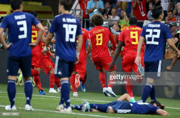 Marouane Fellaini of Belgium celebrates scoring the second goal of Belgium tying the game during the 2018 FIFA World Cup Russia Round of 16 match...