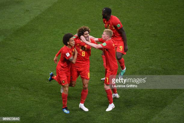 Marouane Fellaini of Belgium celebrates with teammates after scoring his team's second goal during the 2018 FIFA World Cup Russia Round of 16 match...