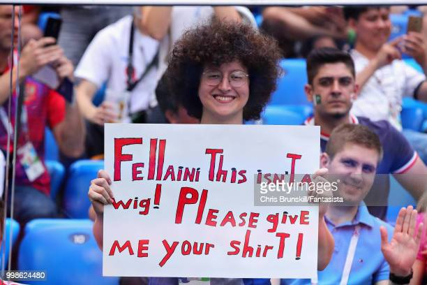 Marouane Fellaini of Belgium fan holds a sign during the 2018 FIFA World Cup Russia 3rd Place Playoff match between Belgium and England at Saint...