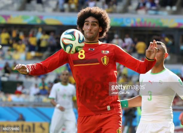 Marouane Fellaini of Belgium in action during the 2014 FIFA World Cup Brazil Group H match between Belgium and Algeria at Estadio Mineirao on June 17...