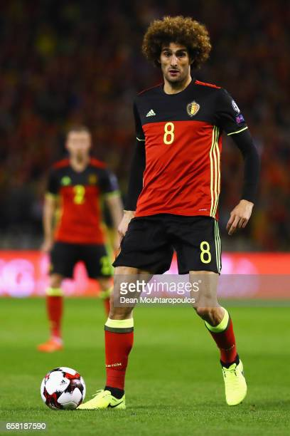 Marouane Fellaini of Belgium in action during the FIFA 2018 World Cup Group H Qualifier match between Belgium and Greece at Stade Roi Baudouis on...