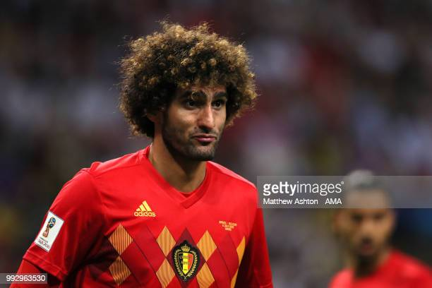 Marouane Fellaini of Belgium looks on during the 2018 FIFA World Cup Russia Quarter Final match between Brazil and Belgium at Kazan Arena on July 6...
